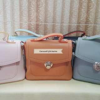Woman Mini Sling Bag / Tas Selempang Wanita Cewek / Tas Kecil Pink Blue Brown Grey Black / Kekinian