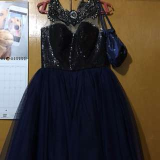Blue sequined-cocktail dress with petticoat