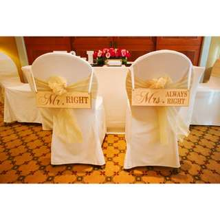 [FOR RENT] Mr & Mrs Chair Back Signage