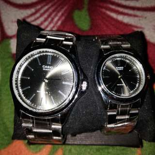 silver casio couple watch .