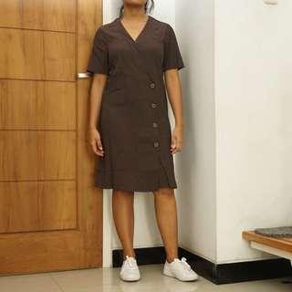 Brown Pleats Dress