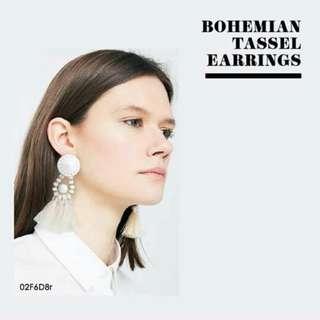 Anting Cantik Bohemian Tassel Earings White