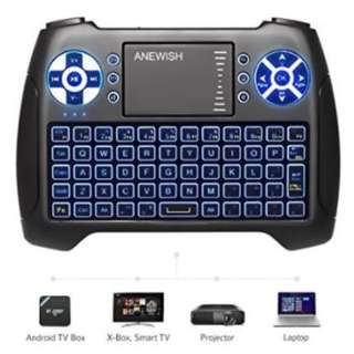 2018 Latest with Backlit - ANEWISH USB Mini Wireless Keyboard Backlit with Touchpad Mouse Combo Set Handheld Keyboard