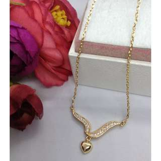 Authentic Bangkok Gold 10k Saudi Gold Centered Chain Necklace with Zirconia Stones Non Tarnish (Not Pawnable)