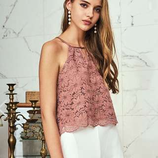 BN The Closet Lover Folk Lace Top in Dusty Rose
