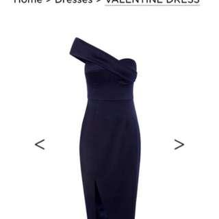 Sheike Navy Cocktail Off Shoulder Dress