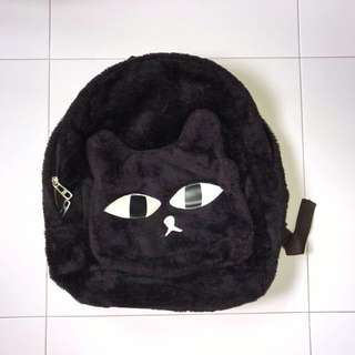 cute furry cat backpack black bag