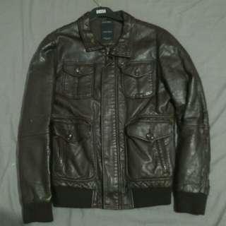 ZARA parka leather sinthetic jacket