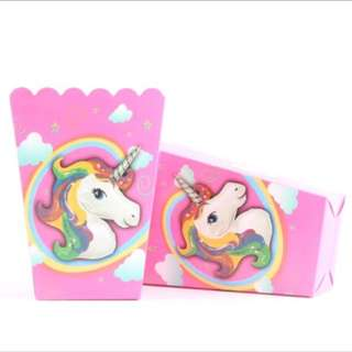 Unicorn party supplies - popcorn boxes / party deco
