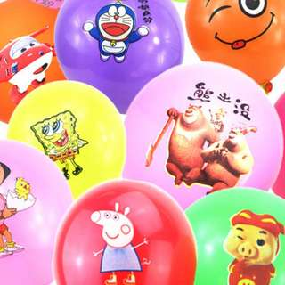 100 balloons with cartoon character