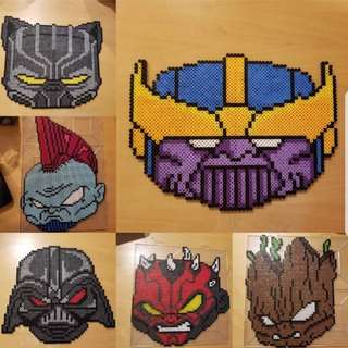 Hama beads design playful gorilla black panther Darth Vader darth maul front guardians of the galaxy thanos yondu