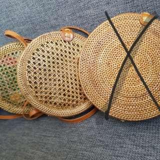 Rattan bag with batik lining from bali