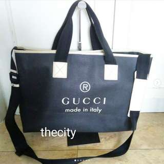 AUTHENTIC GUCCI LARGE TRADEMARK LOGO LEATHER TOTE BAG WITH STRAP - GOOD CONDITION  !