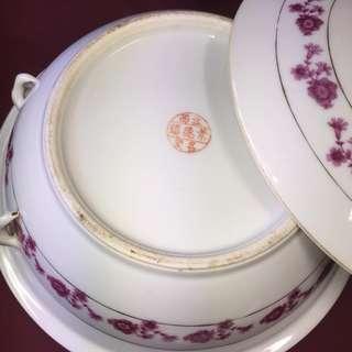 Rare 1950s Pink Flora Tureen