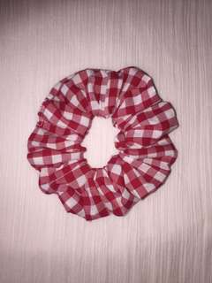 Premium Red and White Gingham Scrunchie