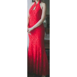 Red glitter chinese button Evening Gown