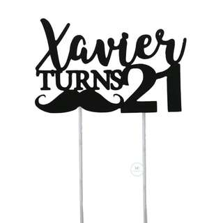 Customized Cake topper Black Glitter Birthday Party 21st