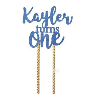 Customized Cake topper Blue Glitter Birthday Party
