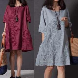 (S~3XL) Summer Loose Embroidered Dress Long Sleeve Linen A-Line Bottom Dress