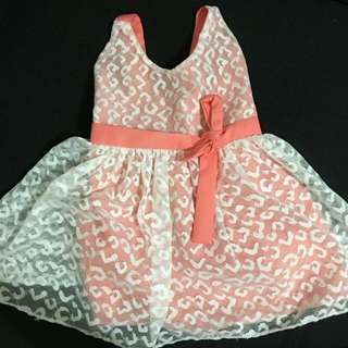 Baby peach and white party dress for 3-6 months