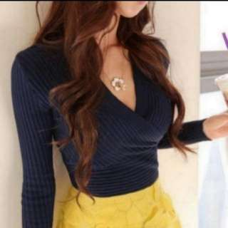 [INSTOCKS] Wrap Basic Knit Long Sleeves Top