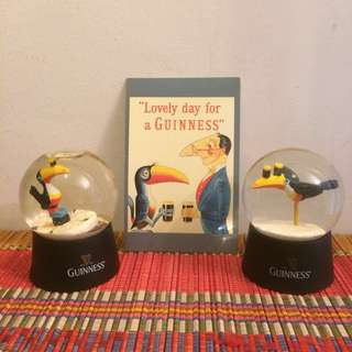 Guinness Toucan bird postcard and snow globes