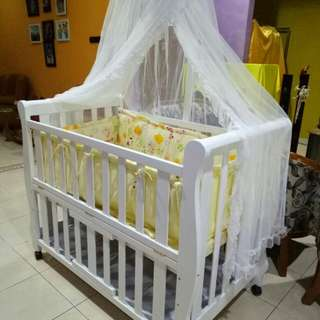 RANJANG BAYI - BABY BOX + BEDDING SET WHITE ALL SET