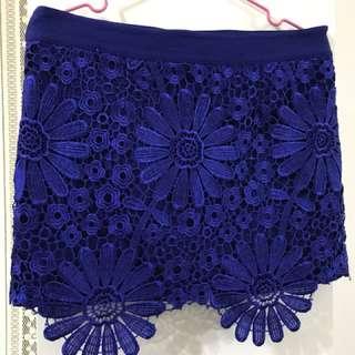 蕾絲 寶藍 短裙 拉鍊式 非鬆緊