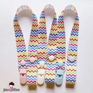Multipurpose Toy clip / Pacifier clip / Dummy clip / Teether Holder Clip - Chevron