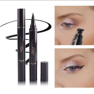 ❤Double end Eyeliner Makeup Liquid Quick dry Waterproof  Black colour With stamp Winged eyeliner ❤