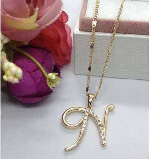 Authentic Bangkok Gold 10k Saudi Gold Chain Necklace & Initial Pendant Letter N Non Tarnish (Not Pawnable)