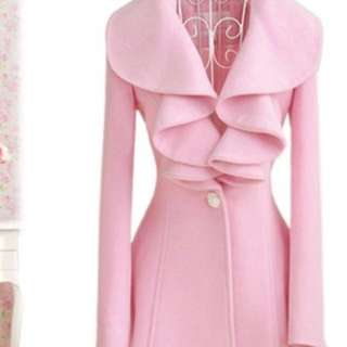 Vintage Women Fall Winter Warm Outfit  Woolen Long Coat Ruffled Fur Overcoat