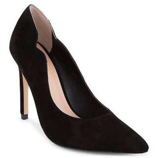 PeepToe Women's Fune Leather pointy Pumps - Black Kid Suede size 9 brand NEW 40