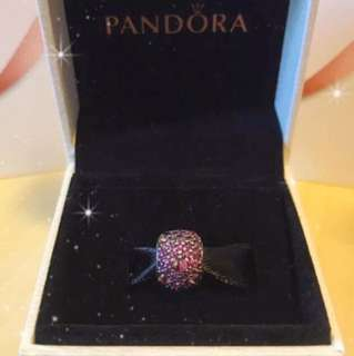 Pandora- Silver charm with fancy purple cubic zirconia