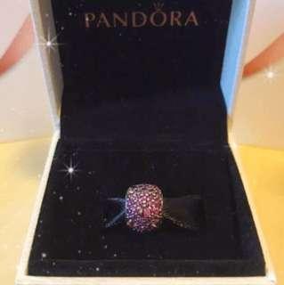 Pandora- Silver charm with fancy purple cubic zirconia