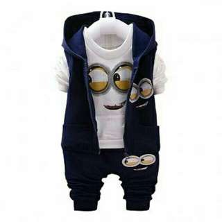 TERBARU-BAJU SET MINION KID'S 3in1