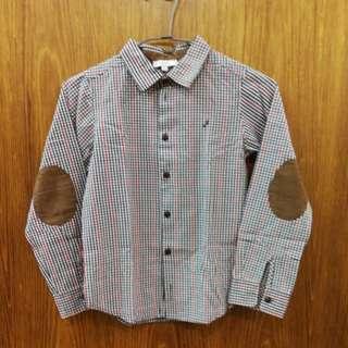 Jacadi男童長袖細格紋襯衫。8A,建議身高130公分上下