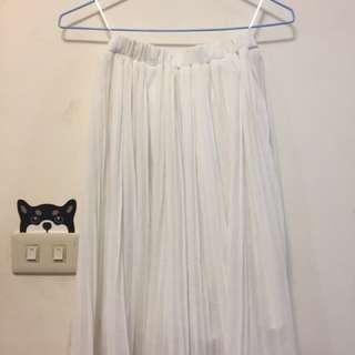 白色 雪紡 百褶裙 過膝 可換物
