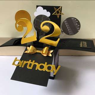 Happy 22nd Birthday Handmade Pop Up Card