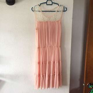 Pink Lace Pleated Dress