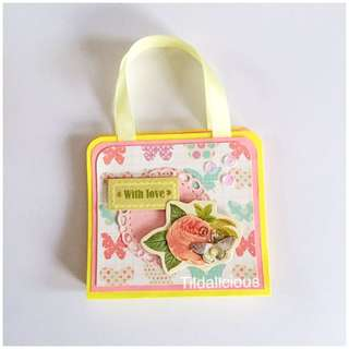 Handmade bag style post it notes holder