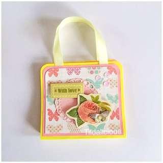 Handmade bag style post it notes holder