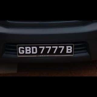 GBD 7777 B  Car Plate