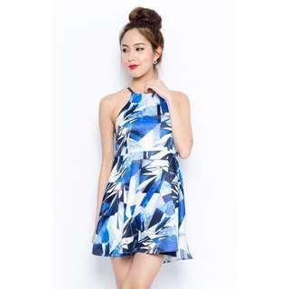 🔺BN🔺Blue Geometric Halter Dress