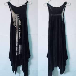Women's black drape summer dress - Size S