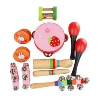 BN Wooden Percussion Band Musical Instruments Rhythm Kit Toy Set