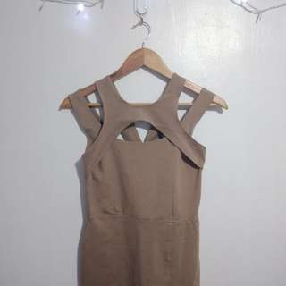 Body con Dress with Slit (Beige)