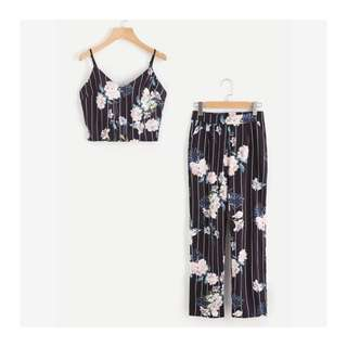 Stripe Floral Top and Pants