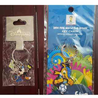 Key Chain (2 Pieces) - Genuine Disneyland & 2014 World Cup Key Chain