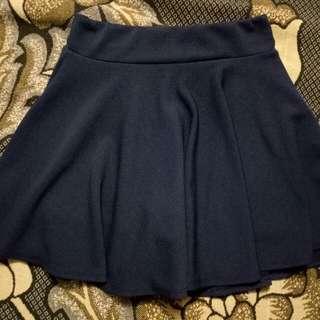 Dark blue plain skirt with undershorts